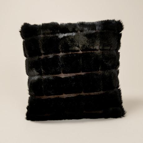 Mink Patchwork Pillow // Black