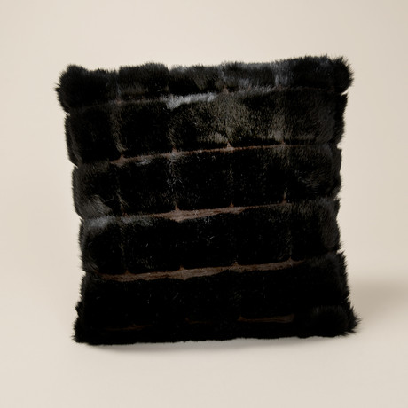 "Mink Patchwork Pillow // Black (14""L x 20""W)"