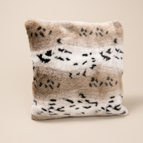 "Fur Pillow // Snow Leopard (14""L x 20""W)"