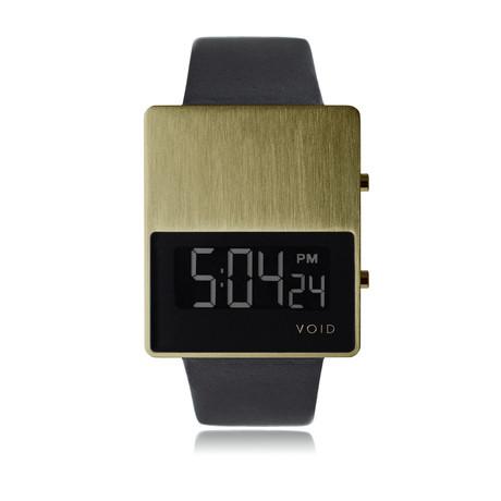 V01EL // Digital + Leather Strap // Gold LCD