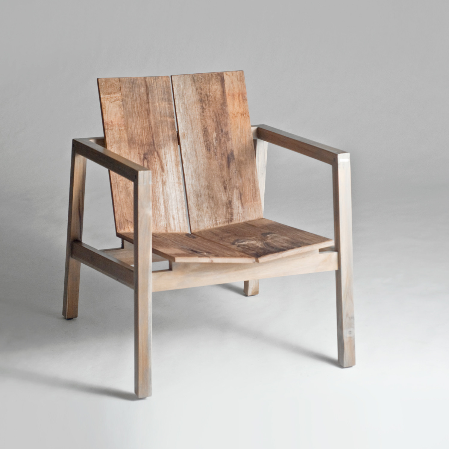 Modern wood chair with arms - Old Wood Arm Chair