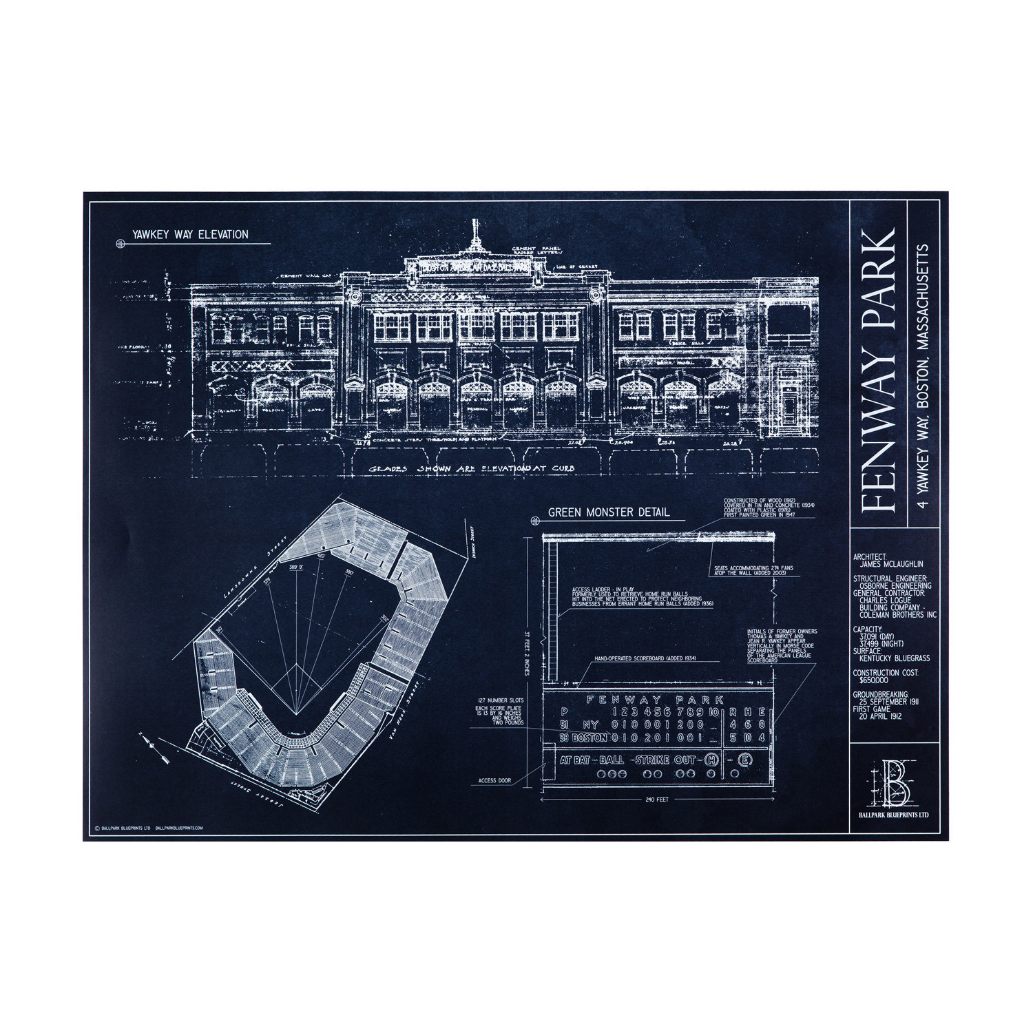 Fenway park boston red sox ballpark blueprints touch of modern fenway park boston red sox malvernweather Choice Image