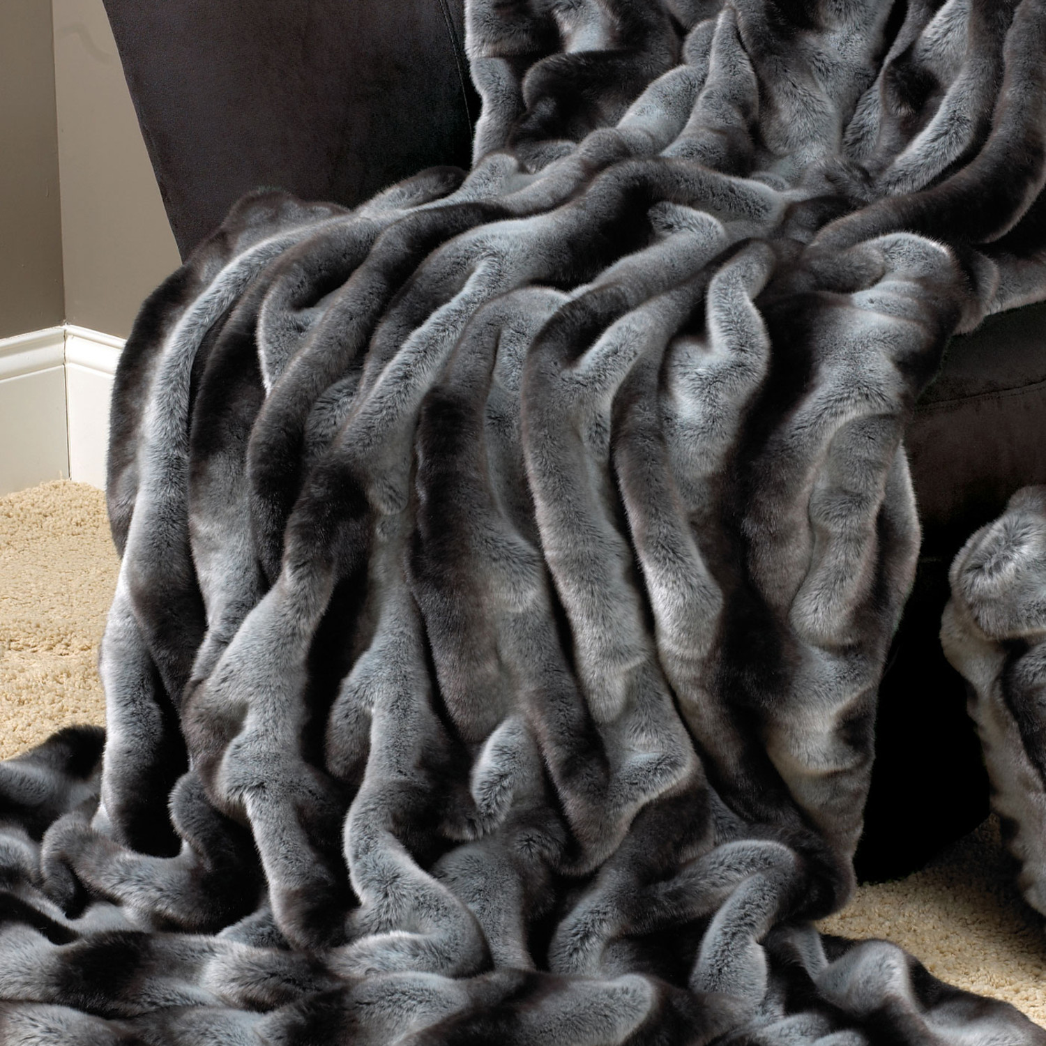 Couture Faux Fur Throw // Grey Chinchilla (Large)