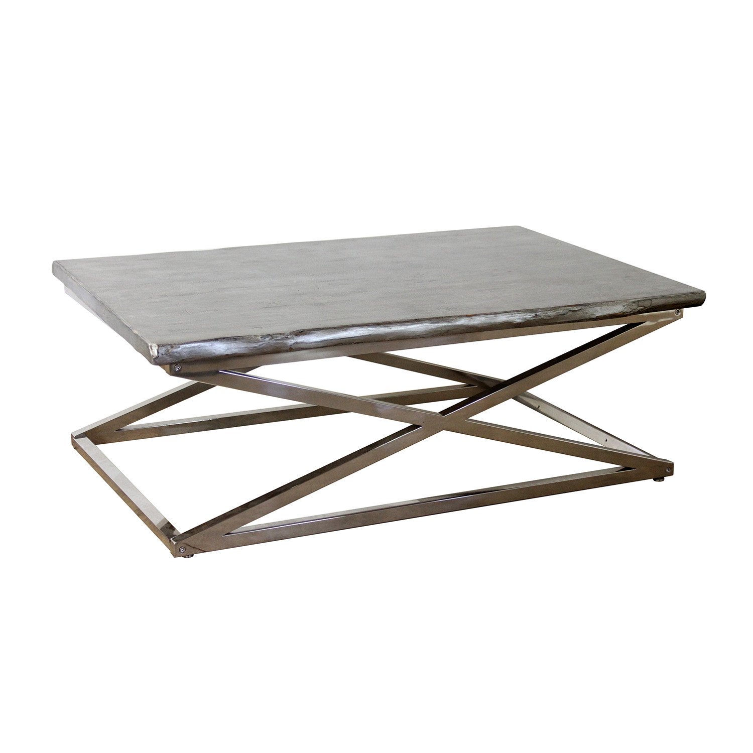 Voltin Live Edge Coffee Table with Chrome legs Madera Home