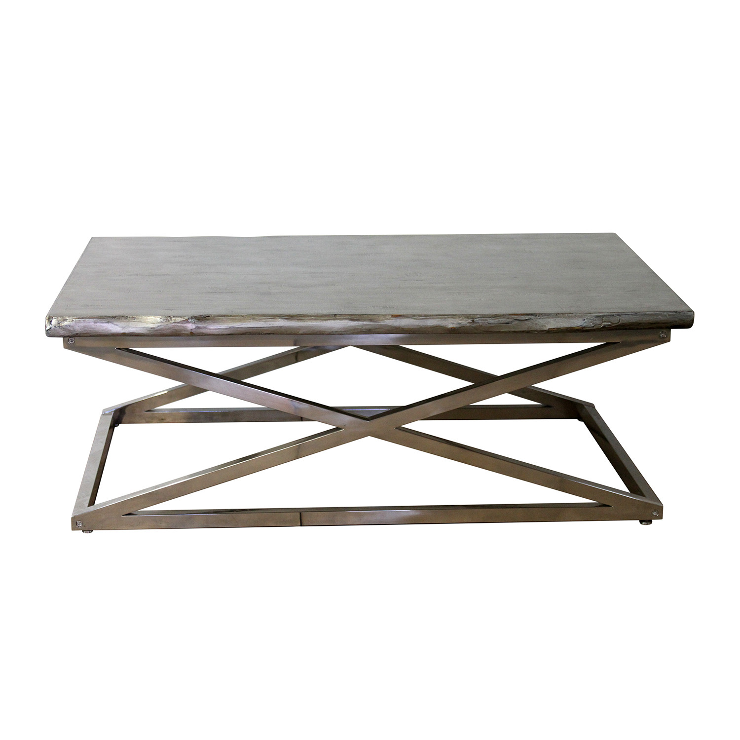 Voltin live edge coffee table with chrome legs madera home voltin live edge coffee table with chrome legs geotapseo Image collections