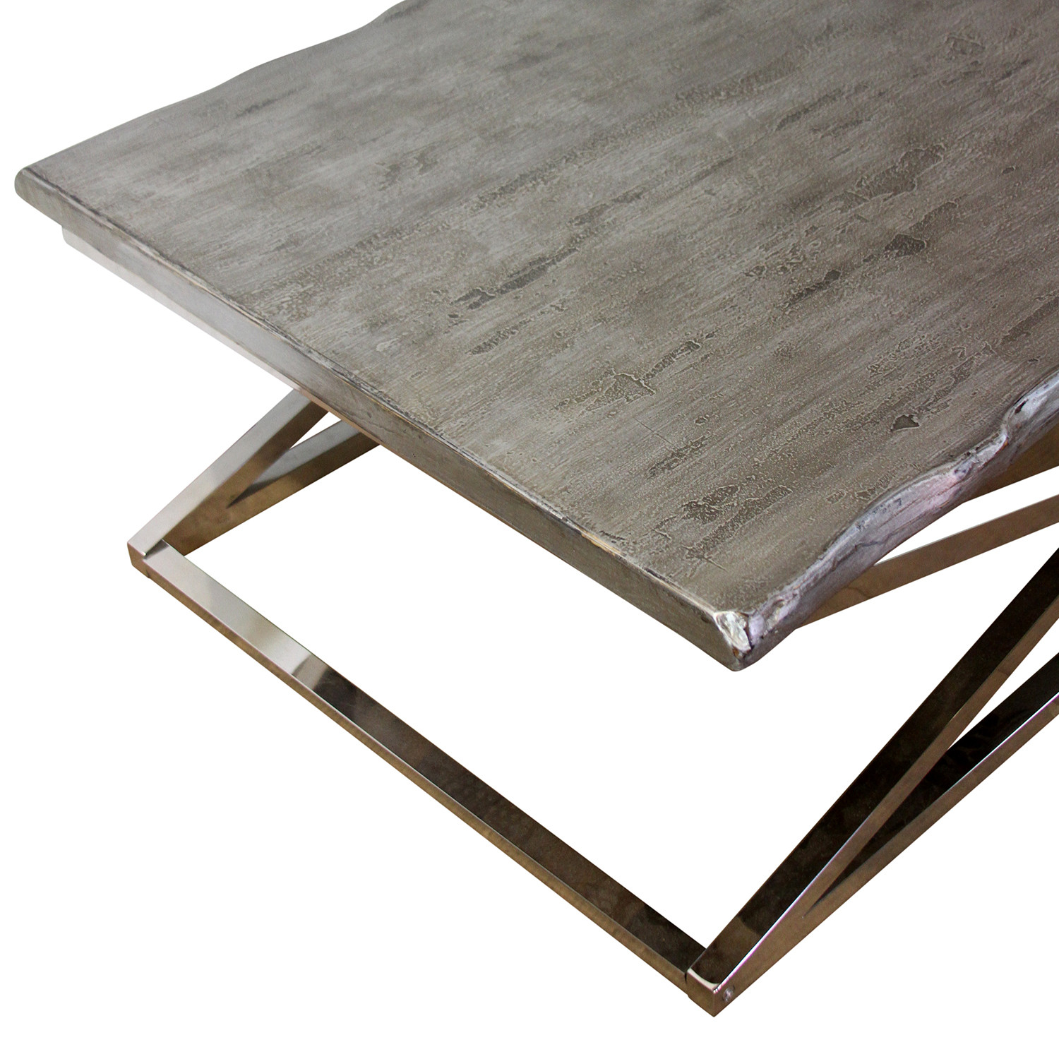 Voltin Live Edge Coffee Table With Chrome Legs Madera Home Touch Of Modern