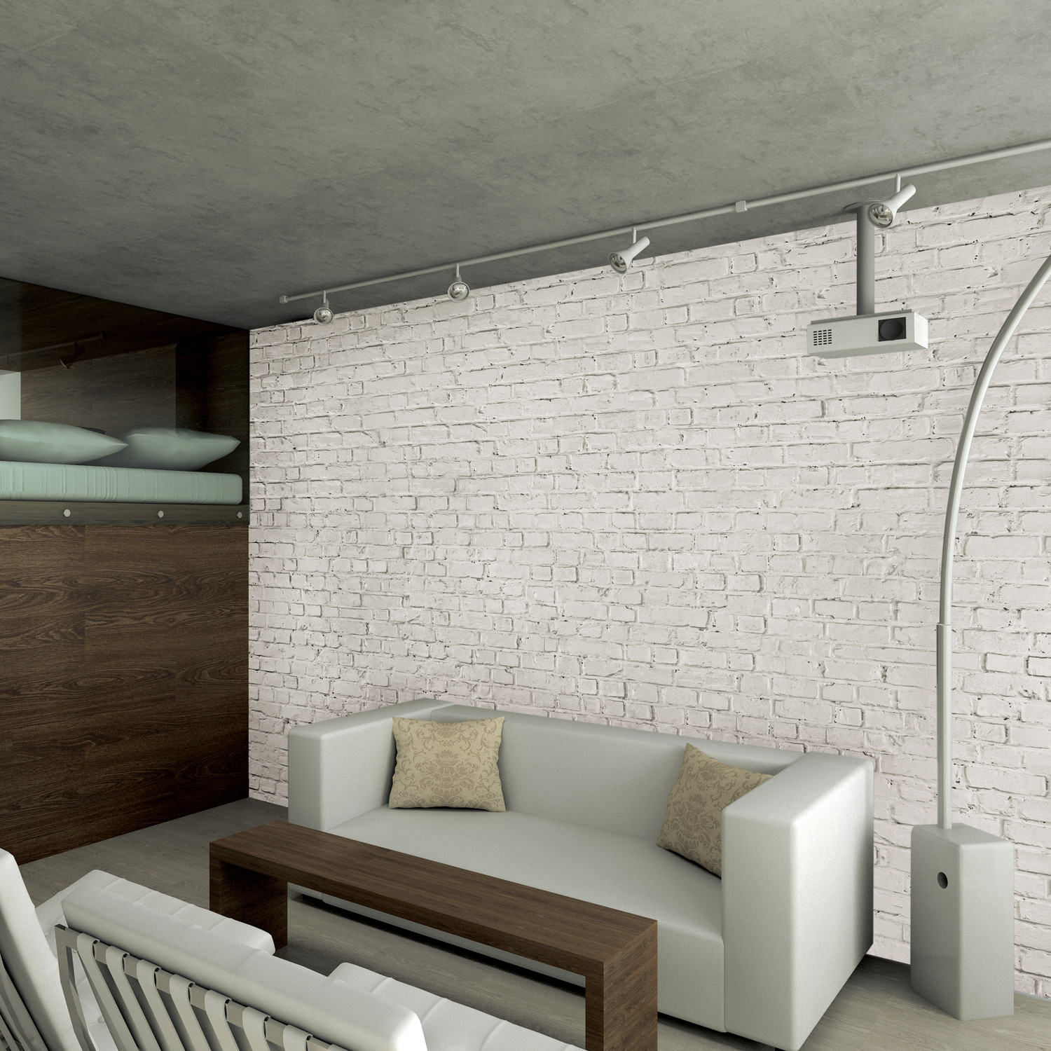 White loft brick wall 1 wall murals touch of modern for Black brick wallpaper bedroom