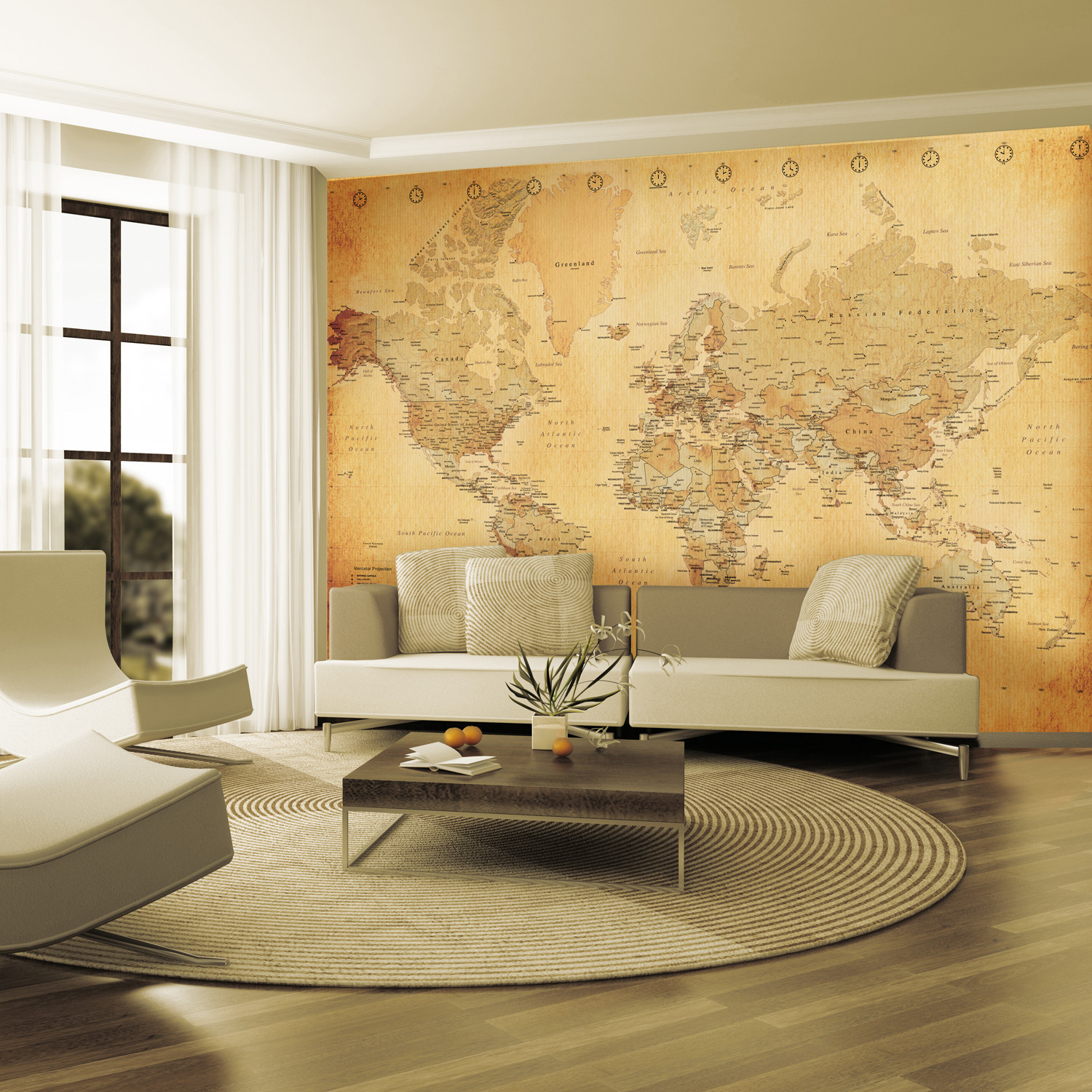 vintage world map 1 wall murals touch of modern. Black Bedroom Furniture Sets. Home Design Ideas