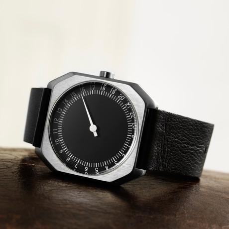 Slow Jo 06 Quartz // Silver Case + Black Dial