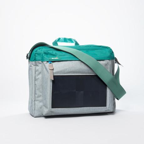 Solar Messenger Bag // Teal + Grey