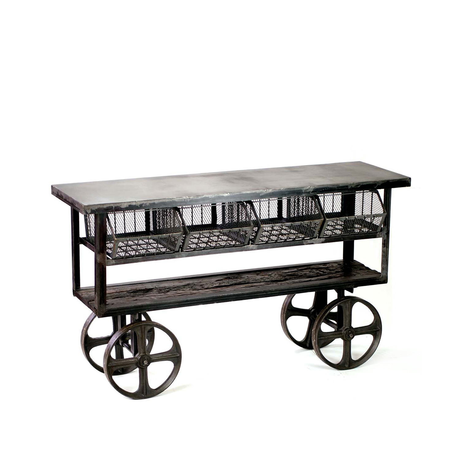 fillmore industrial style rolling console table - crash industrial