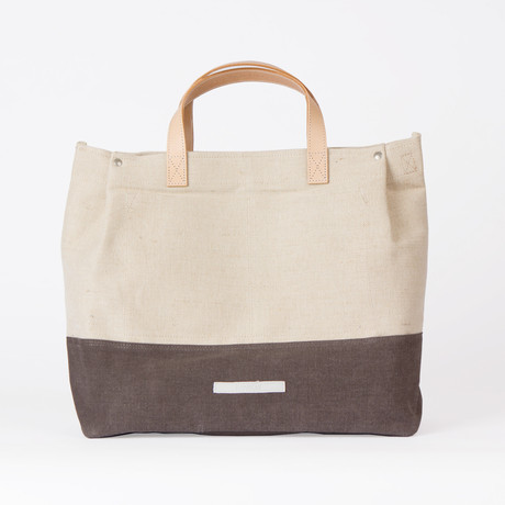 Boat Tote 410 // Linen/Waxed Canvas Mix (Charcoal)
