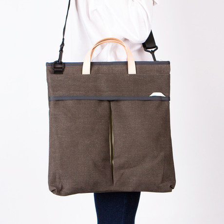 Crossbody Tote 401 // Waxed Canvas with Leather Handles (Charcoal)