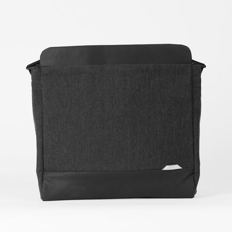 Slim Laptop Shoulder Bag 120 // Waxed Chambray (Black)
