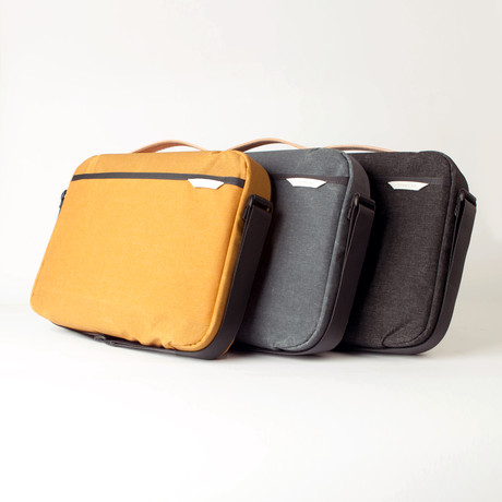 Laptop Shoulder Briefcase 100 // Waxed Kodra Nylon (Black)