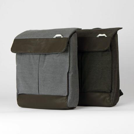 Convertible Laptop Shoulder Bag/Backpack 120 // Waxed Chambray (Black)
