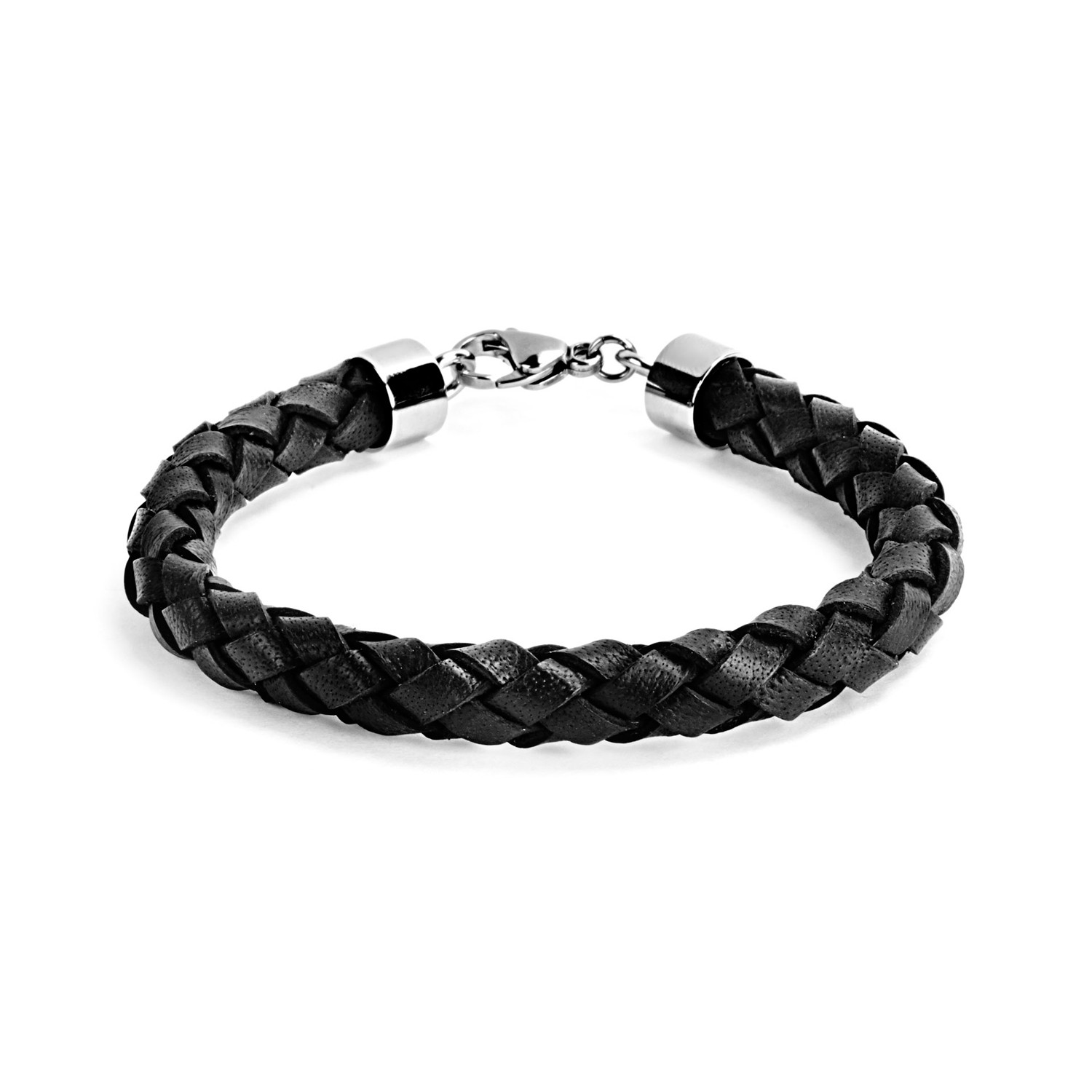 Crucible Braided Leather Men S Bracelet Black