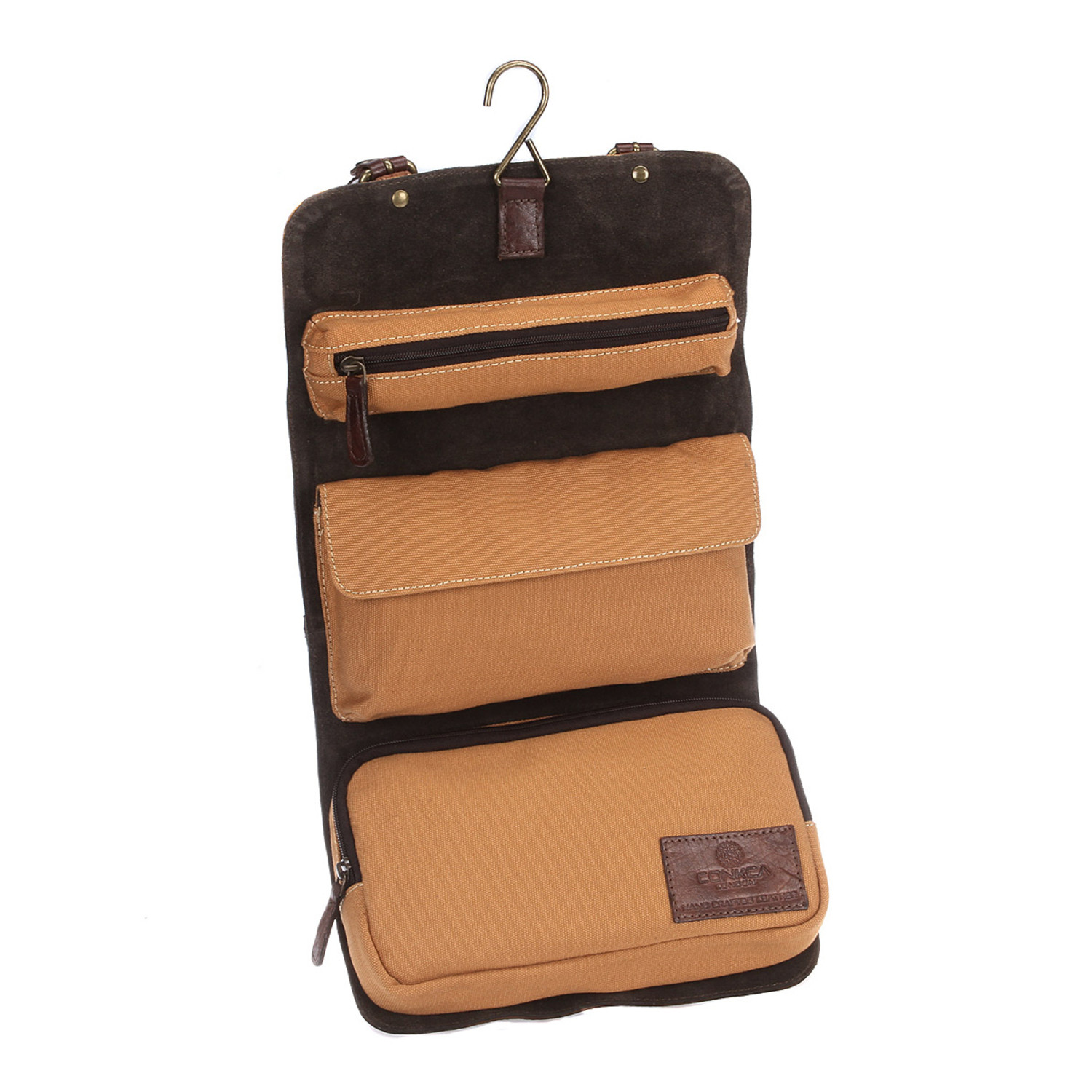 Grasmere Leather Brown Sand Canvas Wash Bag