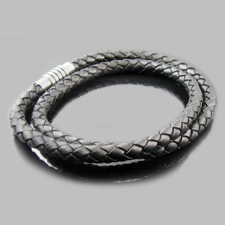 Leather & Stainless Steel Double Strand Bracelet (Black)
