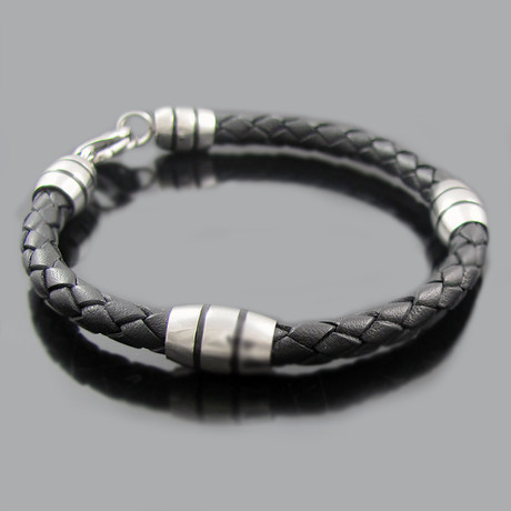 Stainless Steel Double Stripe Bead Bracelet (Black)