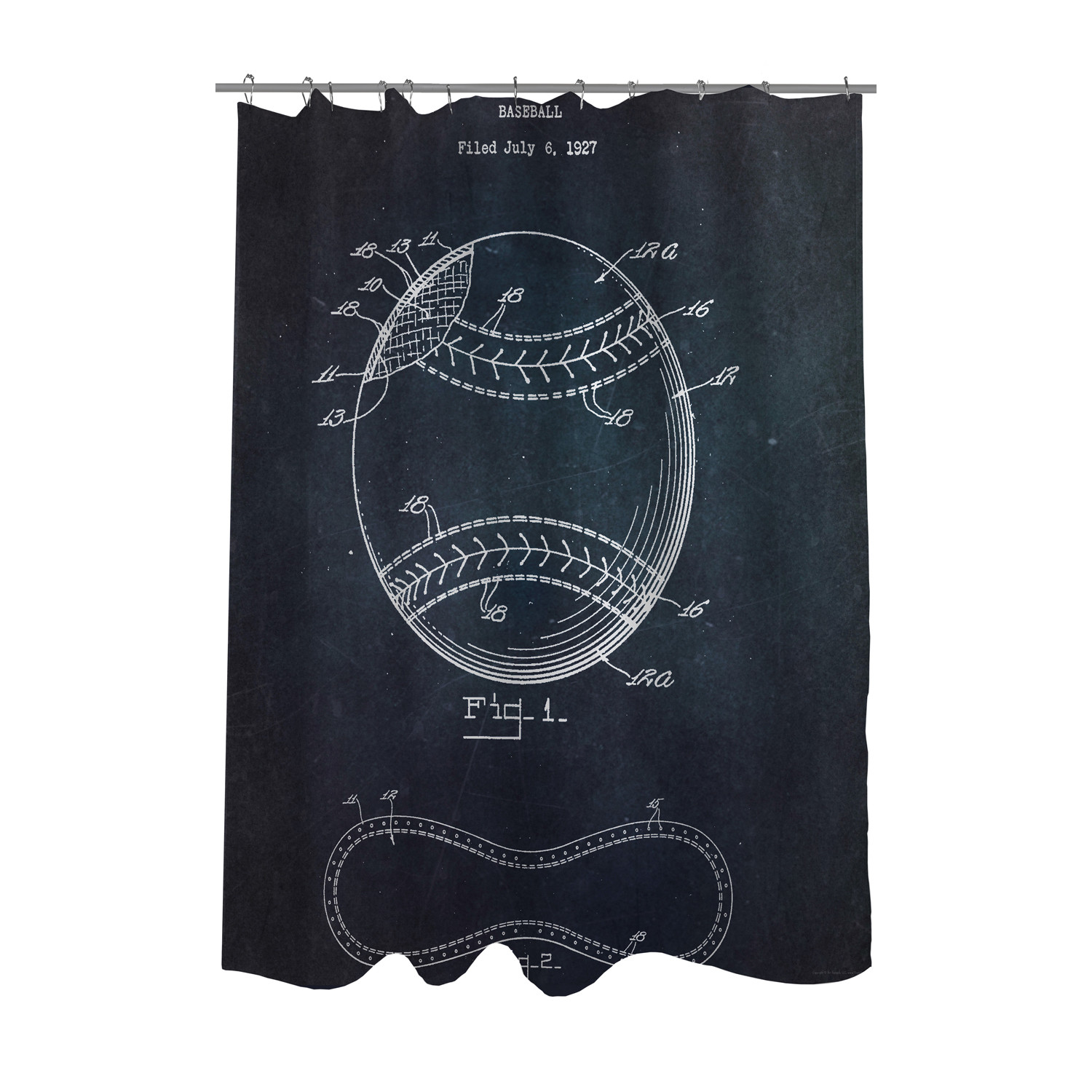 Baseball 1928 Blueprint Shower Curtain