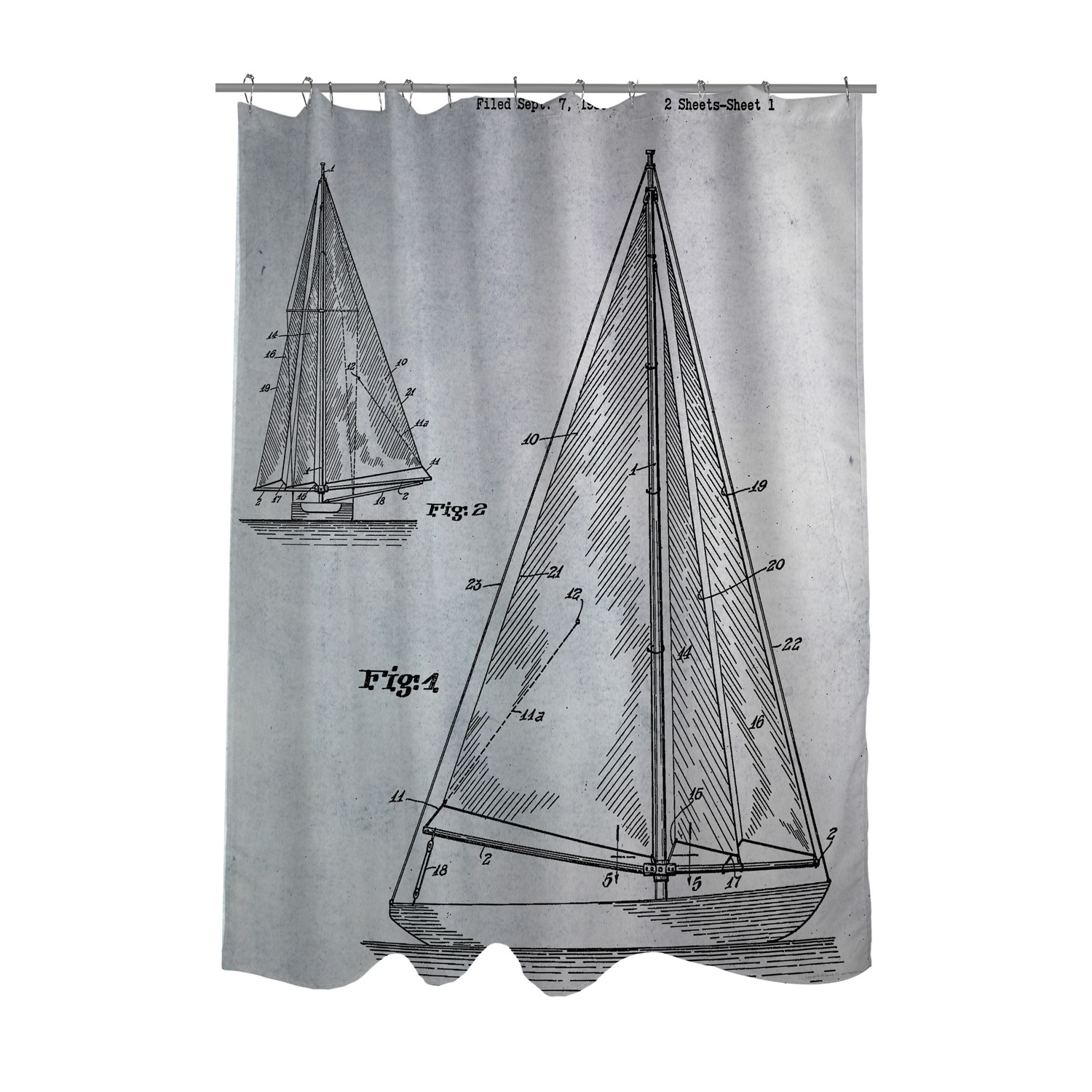 Sailboat 1938 Blueprint Shower Curtain
