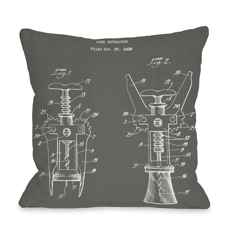 Cork extractor blueprint pillow patent housewares touch of modern cork extractor blueprint pillow malvernweather Choice Image