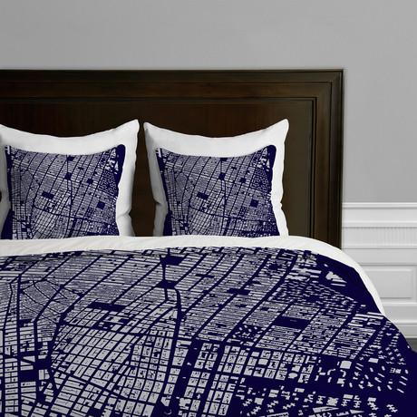 Nyc Duvet Cover Navy King Cityfabric Inc By Deny