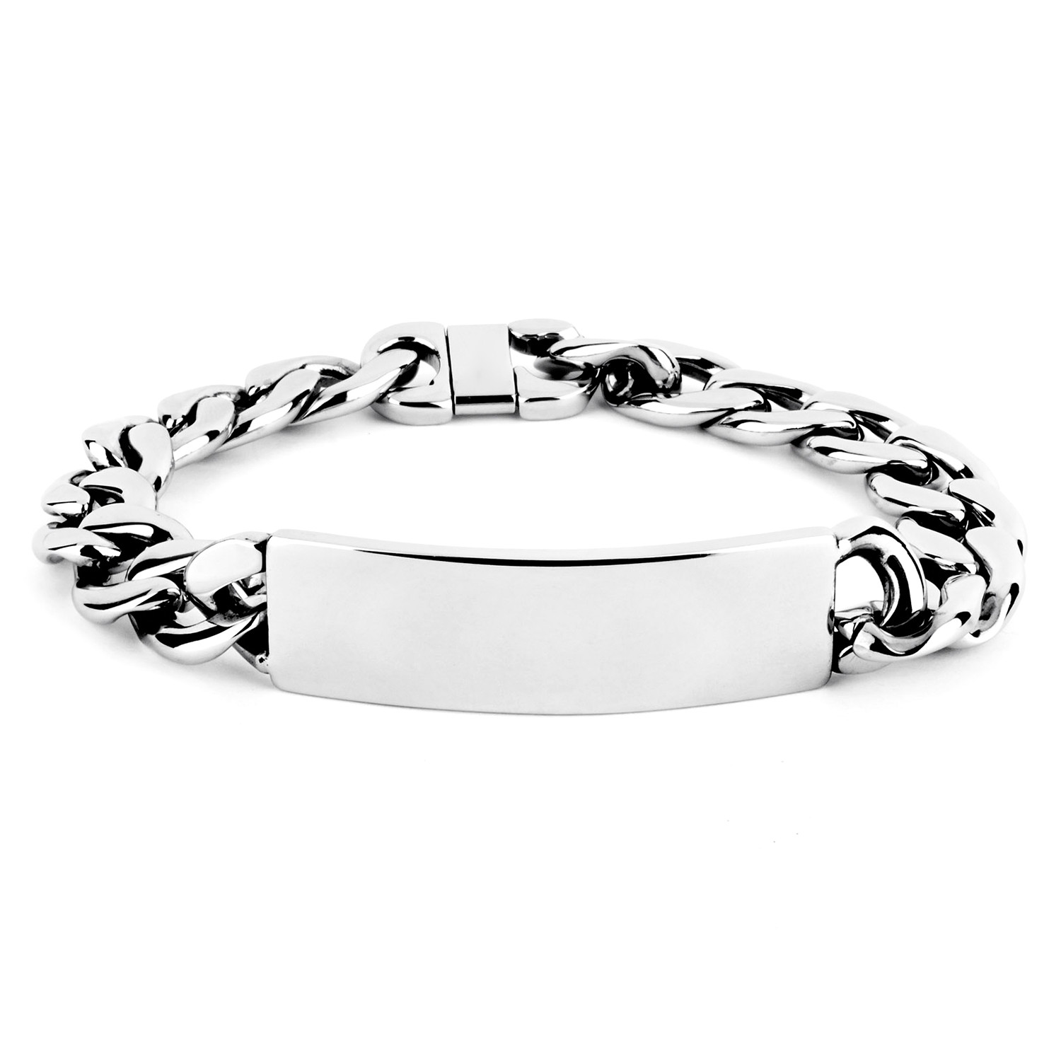 West Coast Jewelry Mens Stainless Steel Polished Curb Chain ID Bracelet