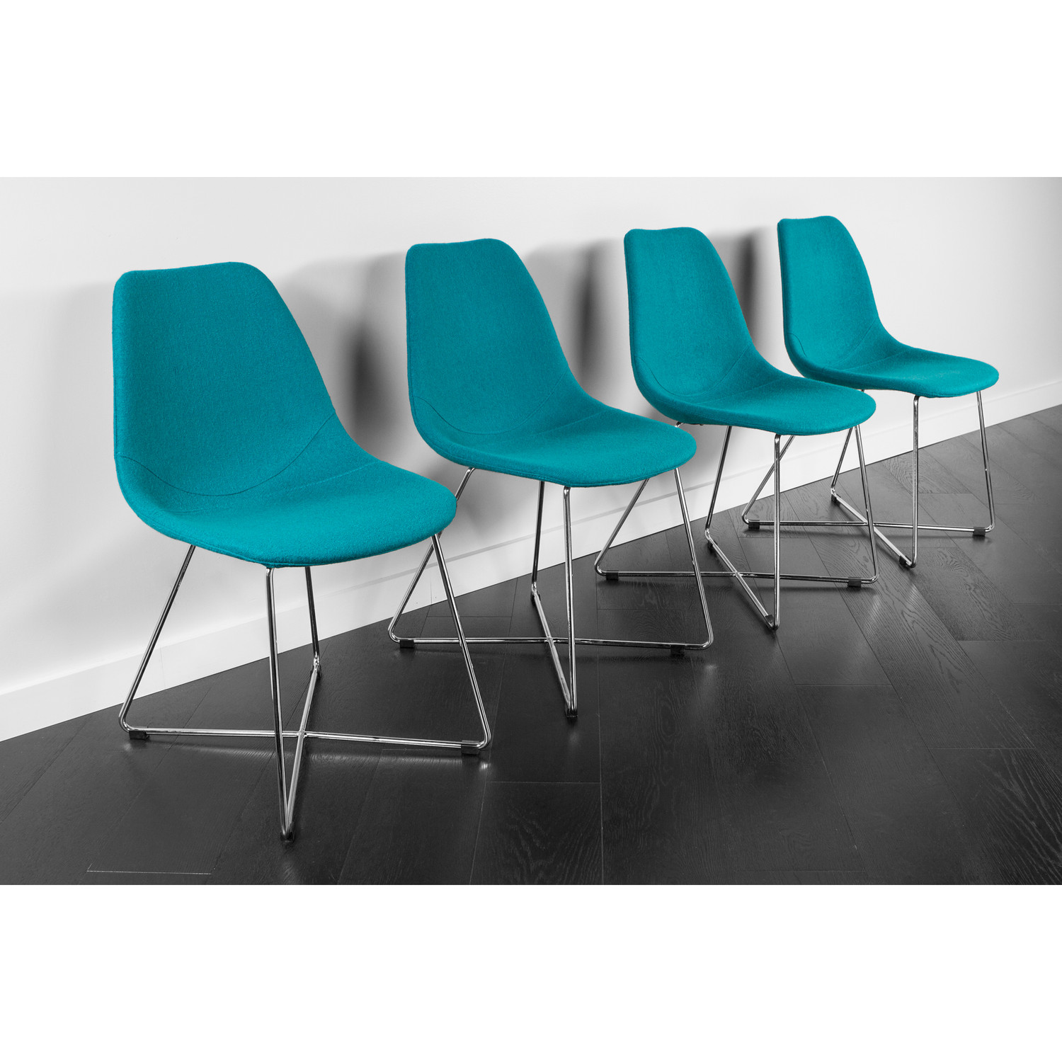 ARTIKA Wool Dining Chairs Set of 4 Teal ARTIKA A Kanto