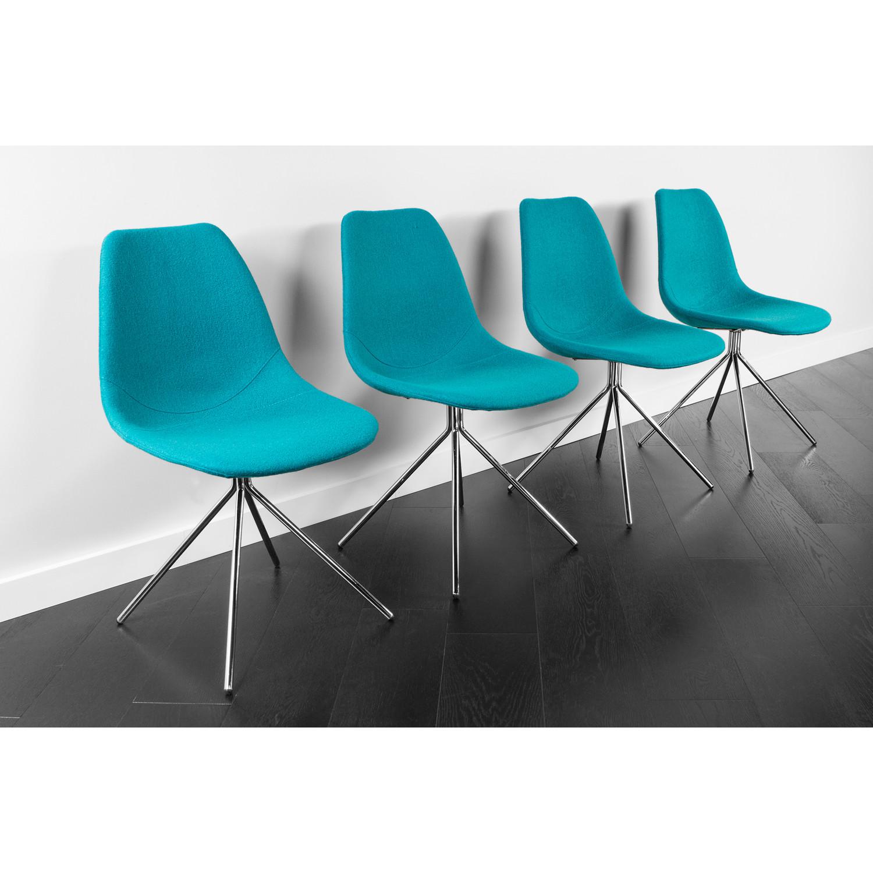 ARTIKA Wool Dining Chairs Set of 4 Teal ARTIKA A Kanto Living