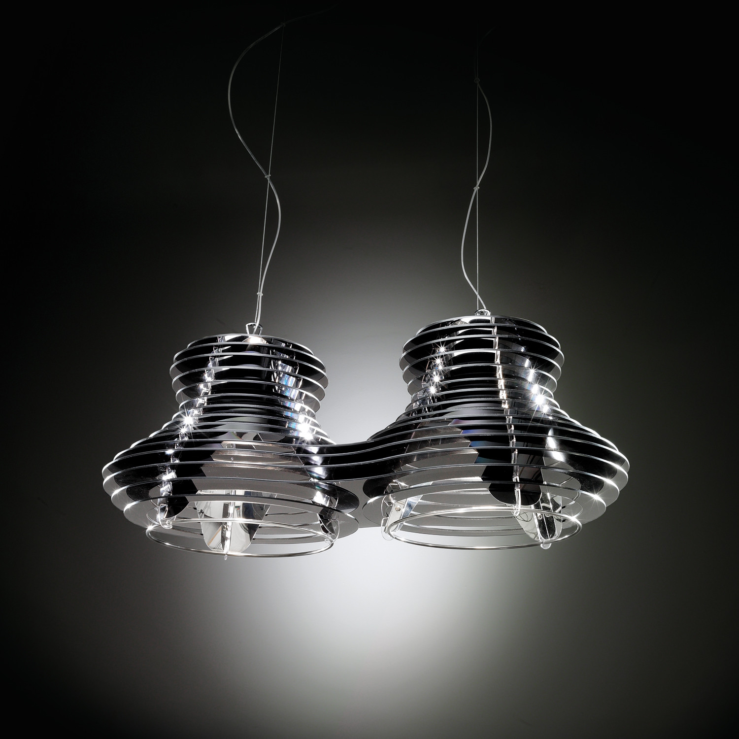 Faretto suspension lamp double black silver slamp for Suspension 4 lampes