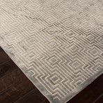 Machine Made Geometric Art Silk & Chenille Rug // Gray & Tan