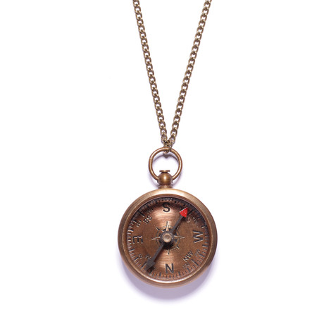 Antiqued Compass Necklace