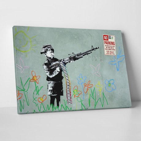 "Boy With Machine Gun (20""L x 16""H)"