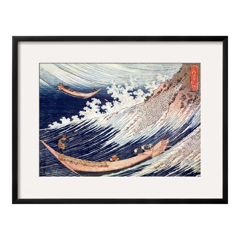Katsushika Hokusai // Two Small Fishing Boats On The Sea (Black ...