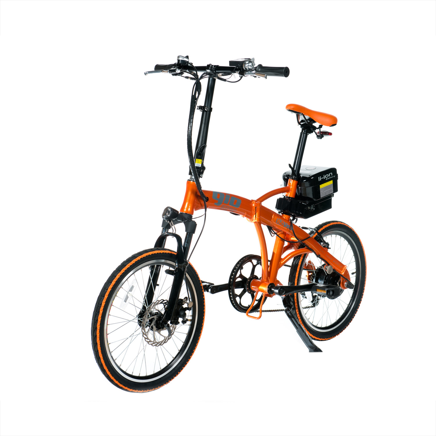 H2 volt foldable electric bicycle orange gio motors for Bicycles with electric motors