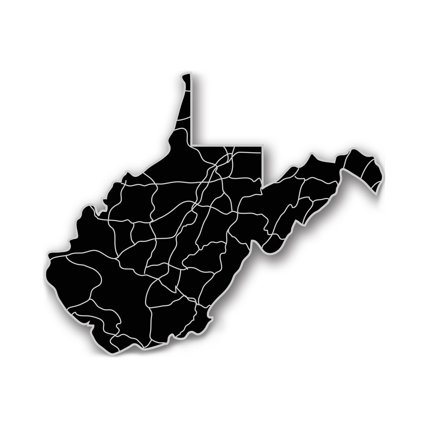 West Virginia Acrylic Cutout State Map Modern Crowd Touch Of