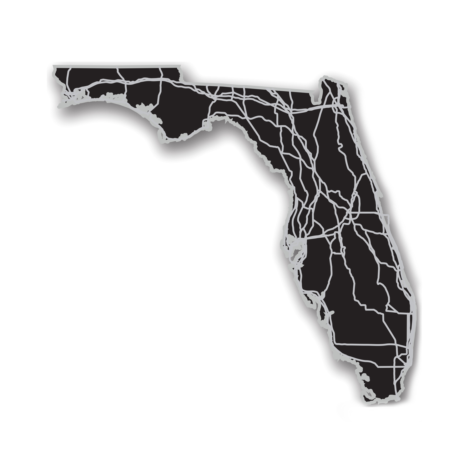 Florida  Acrylic Cutout State Map Modern Crowd Touch Of Modern - Florida map black and white