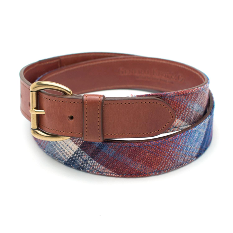 vintage fabric leather belt shadow plaid wool