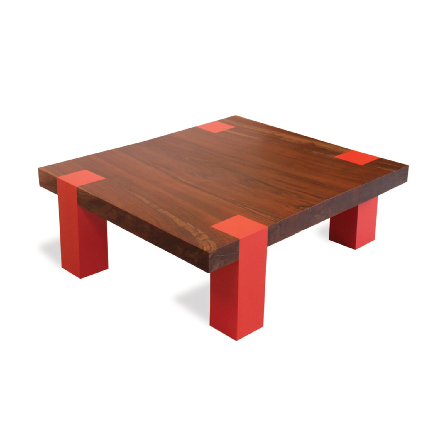 Single Slab Walnut And Lacquer Coffee Table