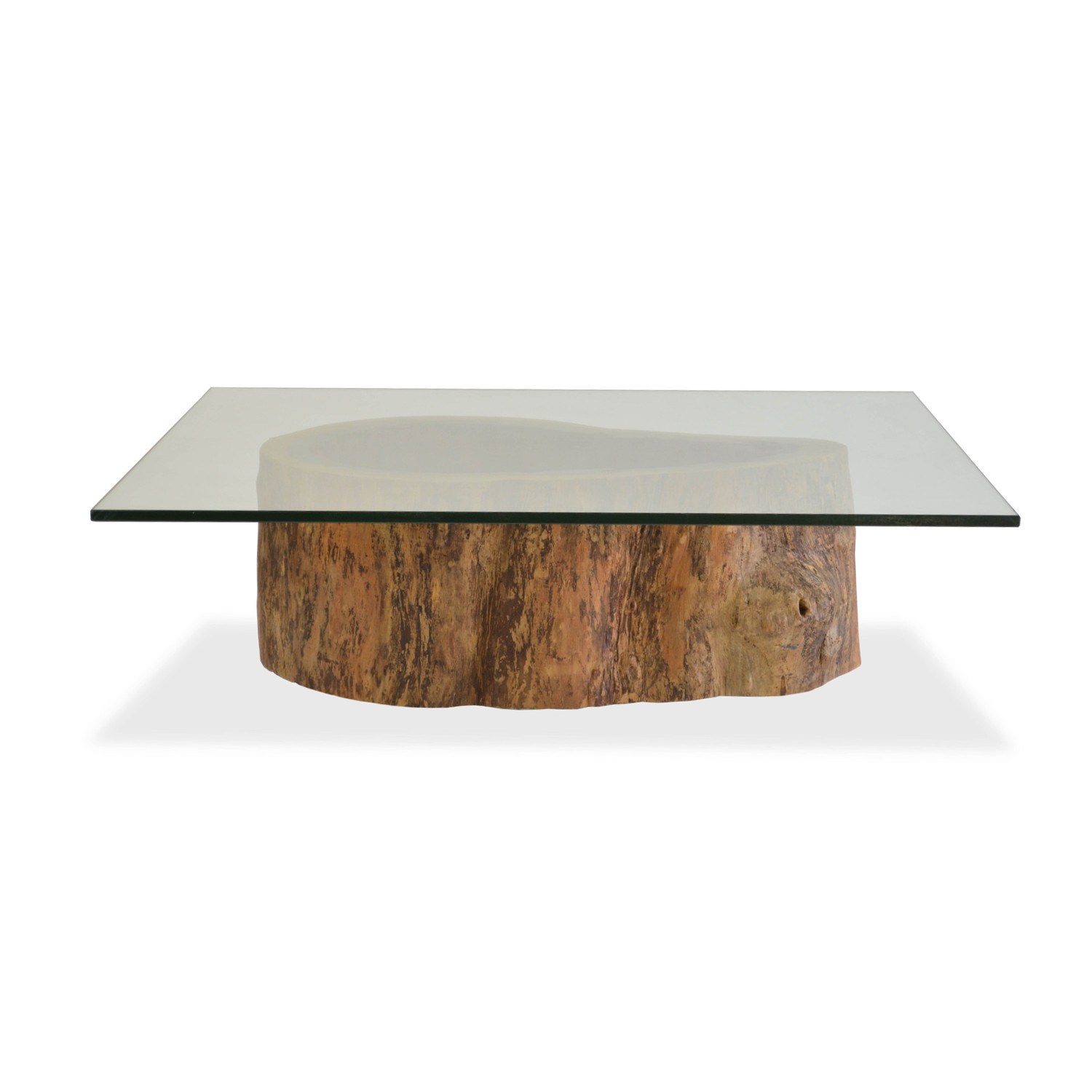 Salvage Hollow Trunk Coffee Table // Square Glass Top