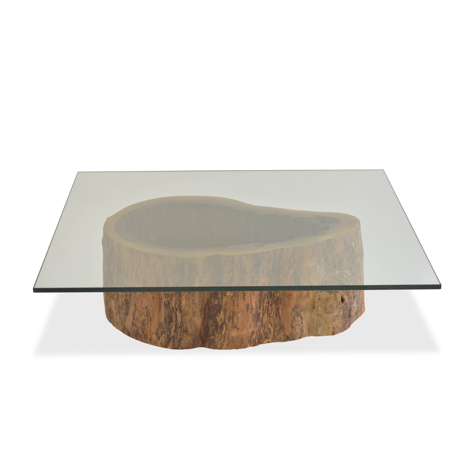 Salvage Hollow Trunk Coffee Table Square Glass Top Rotsen
