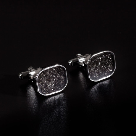 Meteorite Cufflinks // Large Rectangular (Gunmetal)