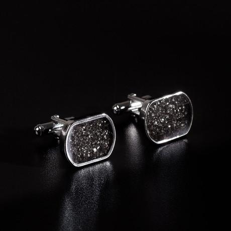 Meteorite Cufflinks // Medium Rectangular