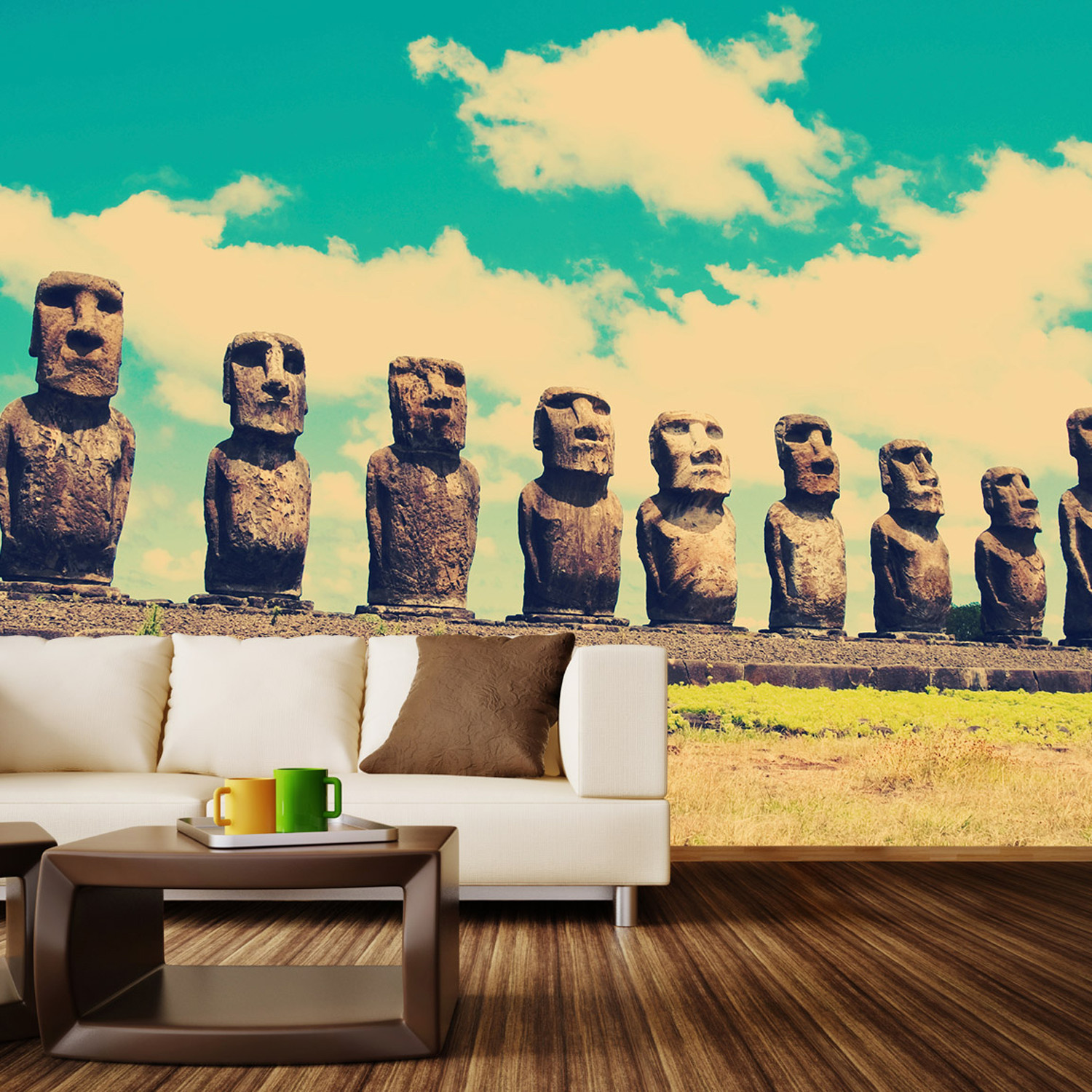easter island wall mural decal 100 l x 100 w walls. Black Bedroom Furniture Sets. Home Design Ideas