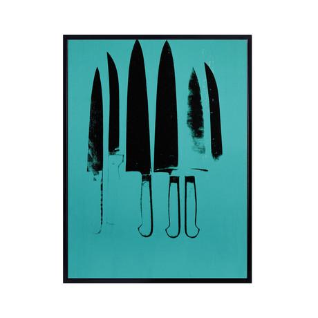 """Knives, c. 1981-82 // Aqua (21""""L x 18.5""""H x 2""""D)"""