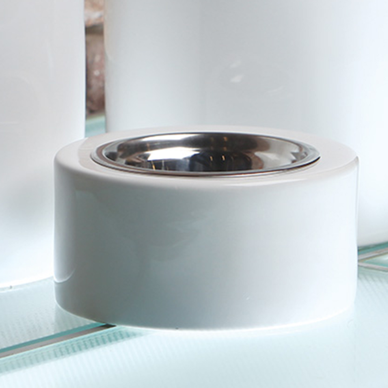 highrise white dog bowl  unleashed life  touch of modern - highrise white dog bowl