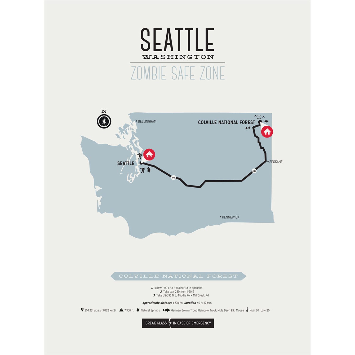 Zombie Safe Zone Map Seattle Steel Blue Design Different - Map of us safe zones