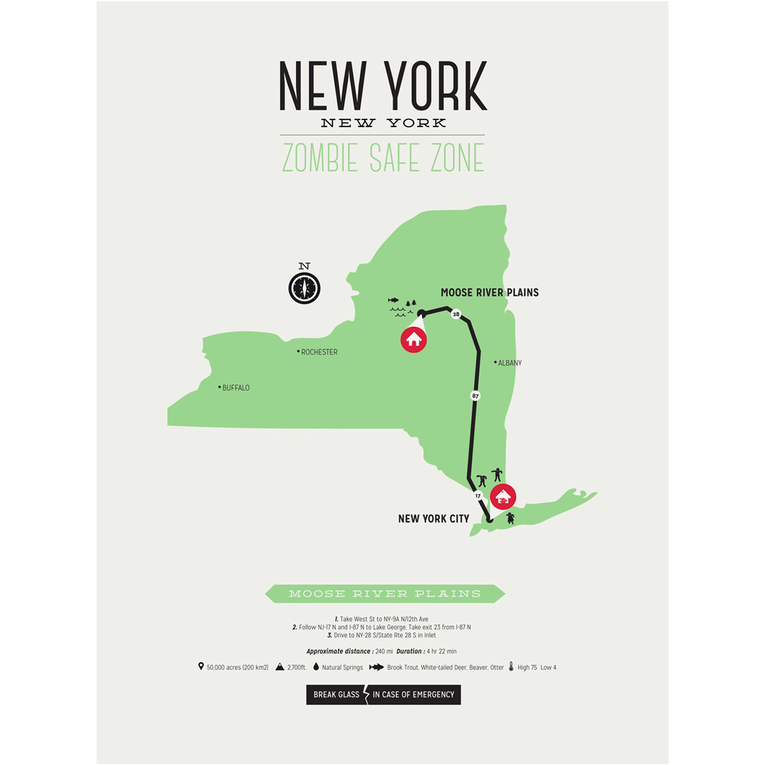 Zombie Safe Zone Map // New York (Mustard) - Design Different ... on